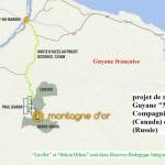 Emplacement de la Montagne d'Or en Guyane